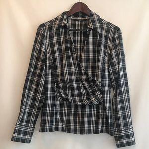 Talbot's plaid v neck collared blouse